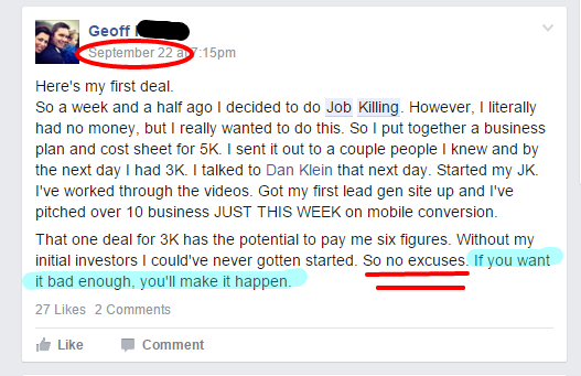 Geoff how can I pay for job killing